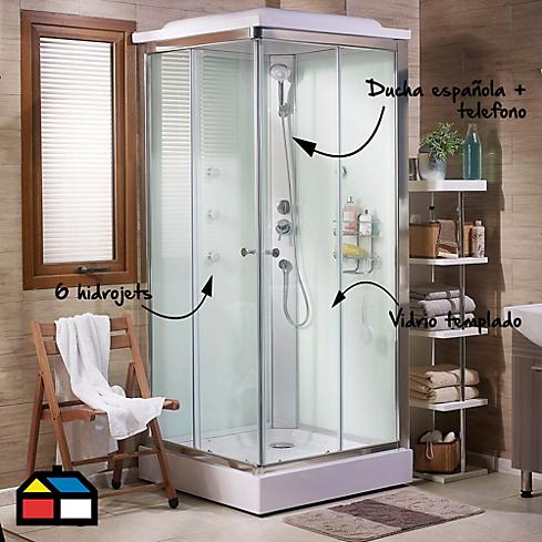 Cabina de ducha 90x90cm con ducha española y 6 hidrojets ...