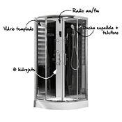 Cabina de ducha 90x90cm+ducha española+6 hidrojets