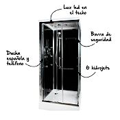 Cabina de ducha 90x90cm con ducha española y 6 hidrojets