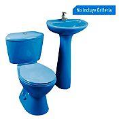 Combo Taza Manantial azul claro Corona + Estanque Manatial azul claro Corona + Lavamanos Milano azul D'acqua + Pedestal Manantial azul claro Corona