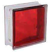 Block Vidrio Olas Rojo 19x19cm