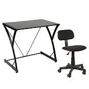 Combo escritorio vidrio negro + Silla juvenil negra
