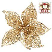Adorno flor glitter con clip dorado 18cm