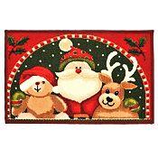 Alfombra Santa con reno y oso 40x60cm