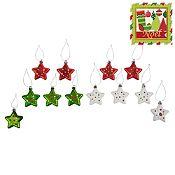 Set 12 estrellas puntos Noel 5.5 cm