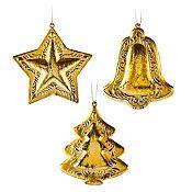 Set 3 adornos colgantes Gold 10 cm