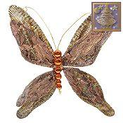 Adorno mariposa alas dobles oro 14.5cm