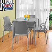 Combo Mesa y 4 sillas Ada gris