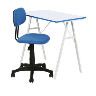 Escritorio y silla azul for Sillas ergonomicas sodimac