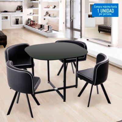 Juego de comedor pizza 4 sillas for Sillas ergonomicas sodimac