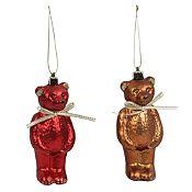 Set 2 osos decorados Holy Night 10 cm