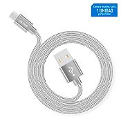 Cable Data USB Tejido Micro 2m Plateado