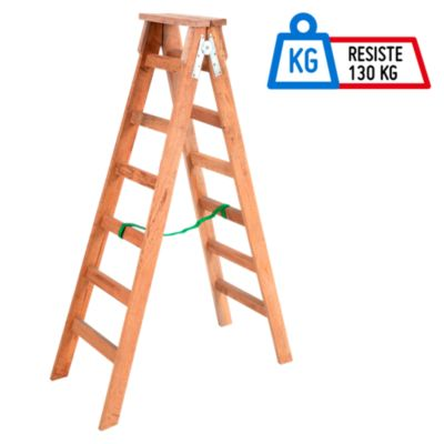 escalera tijera 6 pasos madera