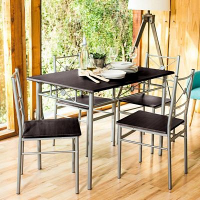 Comedor rectangular 110 x 70 x 76 cm + 4 sillas tubo