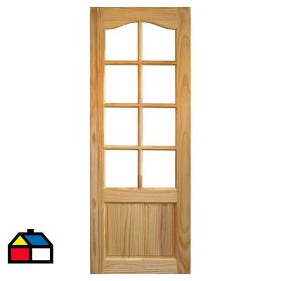 Puerta Pino 2 Paneles 8 Vidrios 75 x 200cm con vidrio