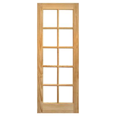 Puerta Pino 2 Paneles 10 Vidrios 70 x 200cm con vidrio