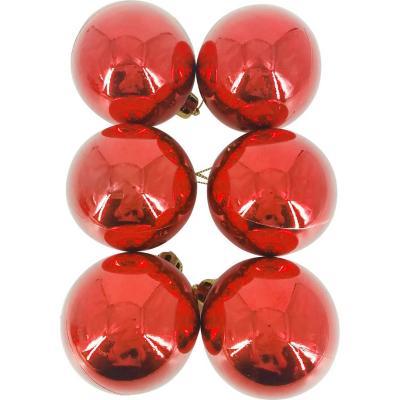 Set 12 esferas brillantes rojo 6 cm