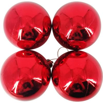 Esferas 9 cm roja brillo x4