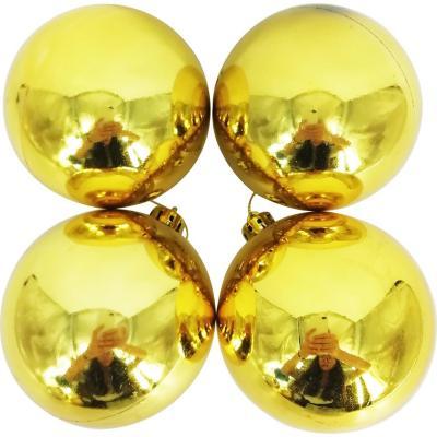 Esferas 9 cm dorado brillo x4
