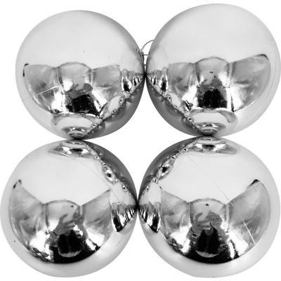 Esferas 9 cm plata brillo x4