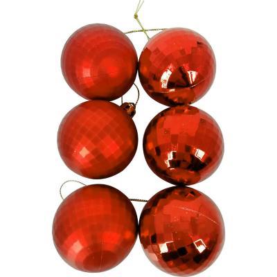 Esferas 6 cm roja diamanate x12