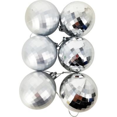 Esferas 6 cm plata diamanate x12