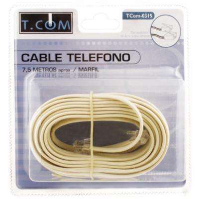 Cable telefónico plano marfíl 7.5 m