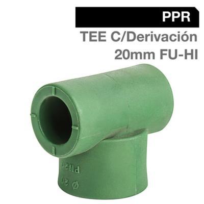 """Tee c/derivación PPR FU-HI 20mm x 1/2"""" 1u"""