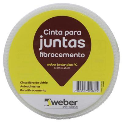 5cm x 45m Cinta fibra vidrio, autoadhesiva para junturas de tabiquería de fibrocemento.