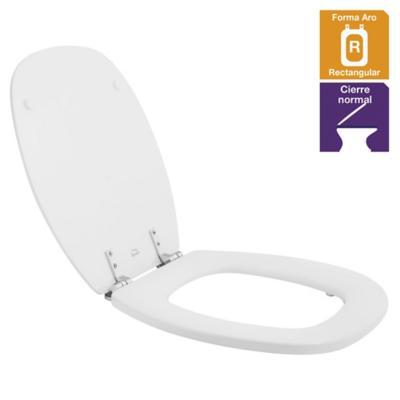 Asiento WC cuadrado madera blanco