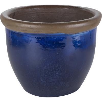 Macetero de cerámica 32x29 cm azul