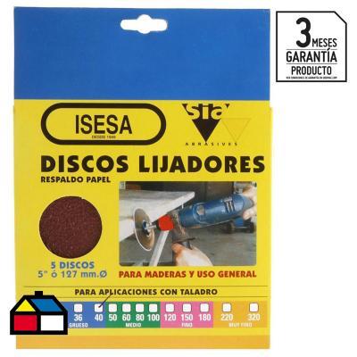 "Disco lija 5""x3/16"" 5 unidades"