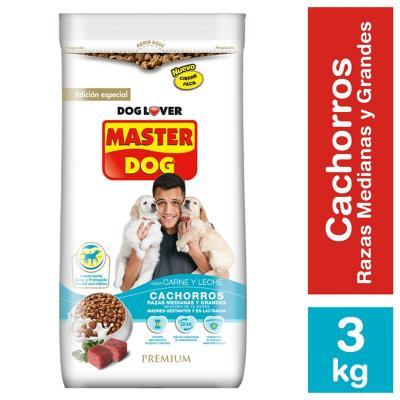 Alimento seco para cachorro 3 kg carne y leche