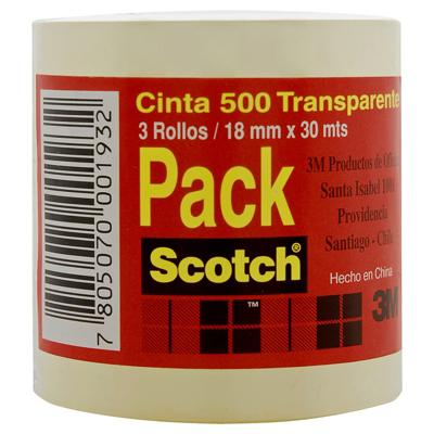 PACK 3 CINTAS SCOTCH 18MMX30MT