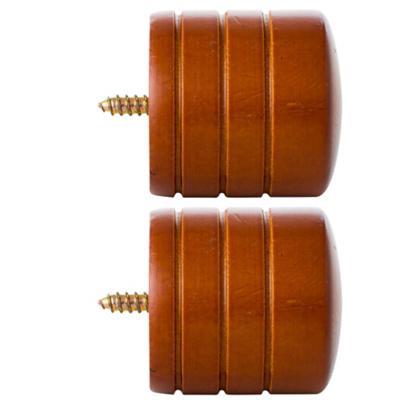 Set de terminales para barra de cortina 35 mm 2 unidades chocolate