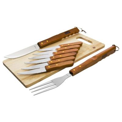 Kit de herramientas para asado 8 piezas con tabla