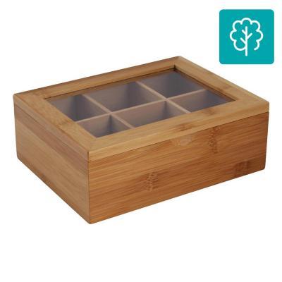 Caja porta Te bambú, 6 divisiones