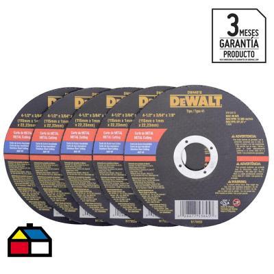 """Set de discos de corte 4,5"""" óxido de aluminio 5 unidades"""