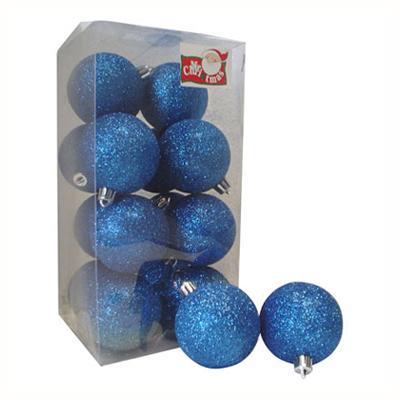 Esferas 6 cm azul escarcha x12