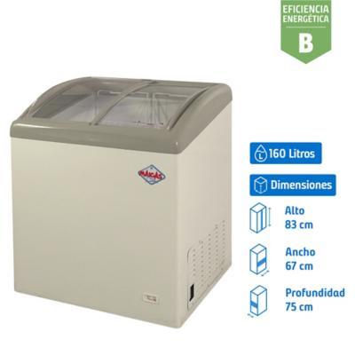 Congelador industrial horizontal 160 litros tapa vidrio blanco