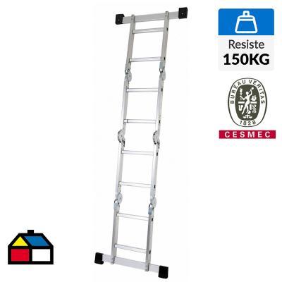 Escala articulada aluminio   8 peldaños  Alto 2.4 m.  Resistencia 150 Kilos