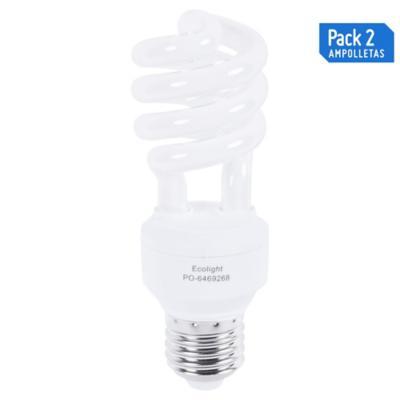 Pack 2 ampolletas 15 watts luz cálida espiral