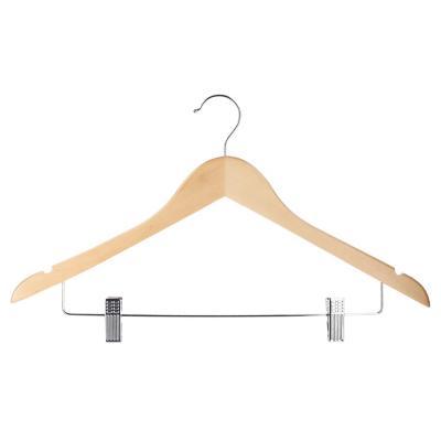 Set de 3 colgadores de ropa con clips madera