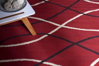Alfombra pasillo bcf rayas 50x212 cm rojo