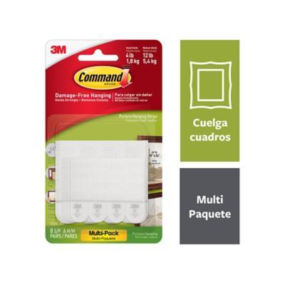 Tiras para colgar cuadros, medianas y pequeñas, blancas, multipack 14 pares