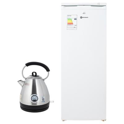 Freezer vertical 165 litros blanco + Hervidor eléctrico 1.7 litros inox