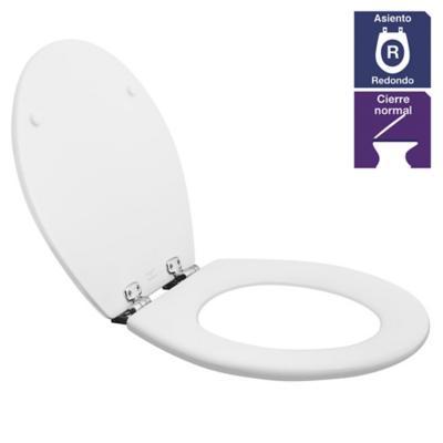Asiento WC redondo madera blanco