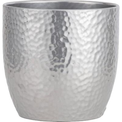 Macetero de cerámica 19 cm plateado