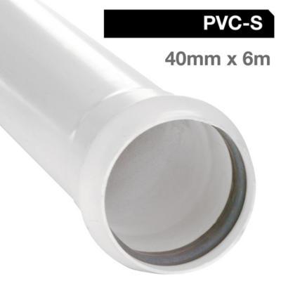 Tubo PVC sanitario blanco con goma 40 mm 6m