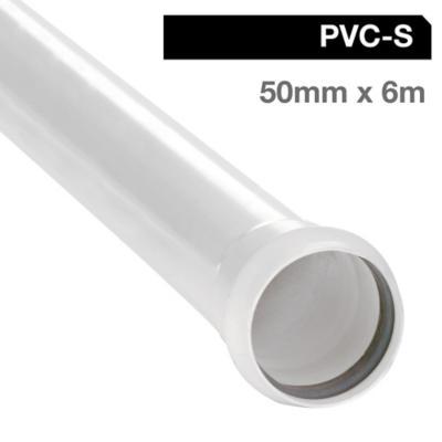 Tubo PVC sanitario blanco con goma 50 mm 6m